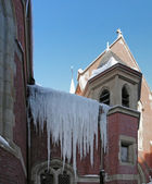 Icicles on a church — Foto de Stock