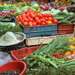 Market stand with fruits and vegetables — Stock Photo