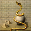Stock Photo: Golden snake in surreal ambiance