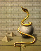 Golden snake in surreal ambiance — Stock Photo