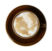 Brown porcelain cup with marbled milk froth — Stock Photo
