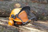 Protective helmet outdoor shot — Stock Photo