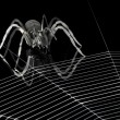 Metal spider and spiderweb — Stock Photo