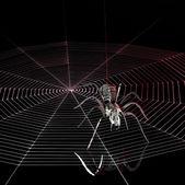 Metal spider and spiderweb — Stock Photo