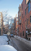 Boston street scenery at winter time — Stock Photo