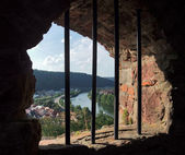 Venster in wertheim castle — Stockfoto