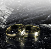 Two golden wedding rings on ice surface — Stock Photo