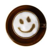 Bruin porselein cup met Gemarmerde melkschuim — Stockfoto