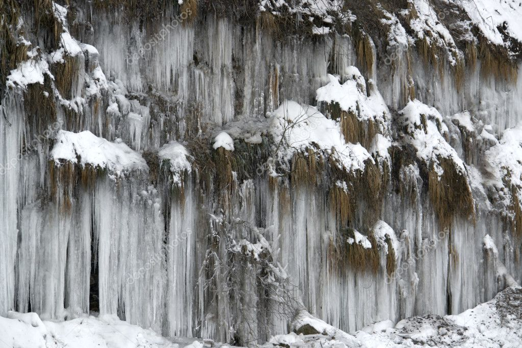 Lots of icicles near river Kocher in Southern Germany — Stock Photo #7410217