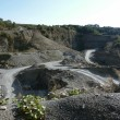Quarry scenery with roads at summer time — Stock Photo