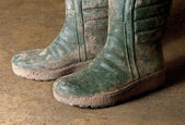 Dirty gumboots — Stock Photo