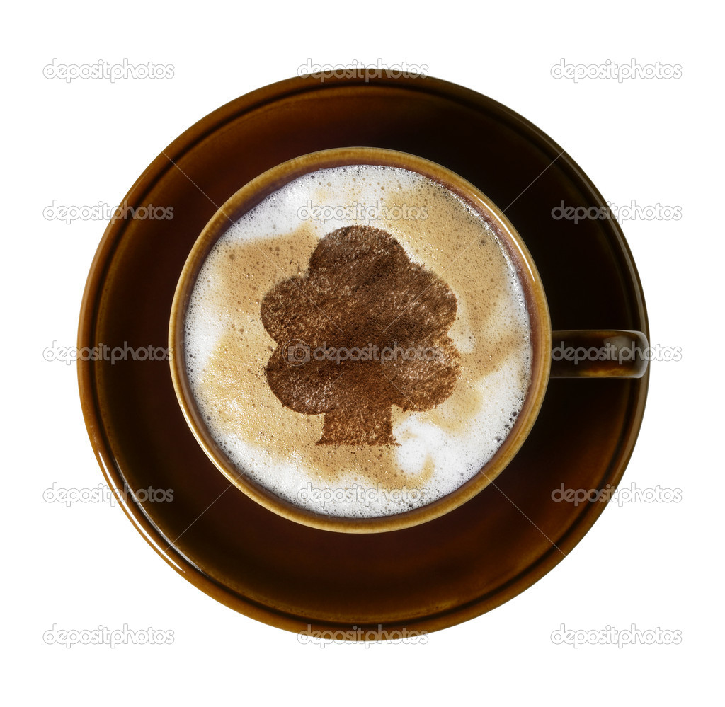 Cup of coffee with marbled milk froth, isolated on white with clipping path, seen from above — Stock Photo #7547632