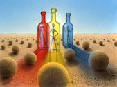 Three bottles in surreal desert ambiance — Stock Photo