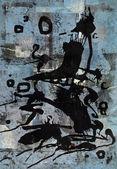 Tisk v modré zpět živé černé — Stock fotografie