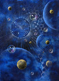 Abstract picture with planets and bubbles — Stock Photo