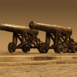 Stock Photo: Outside scenery with nostalgic cannons