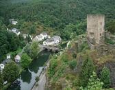 Esch sur Sûre with castle ruin — Stock Photo