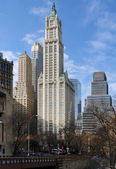 New York city view with Woolworth Building — Stock Photo