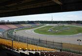 Roofed racetrack tribune — Stock Photo