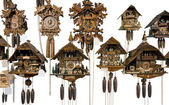 Various cuckoo clocks — Stock Photo