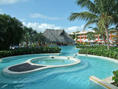 Holiday resort with pool — Stock Photo