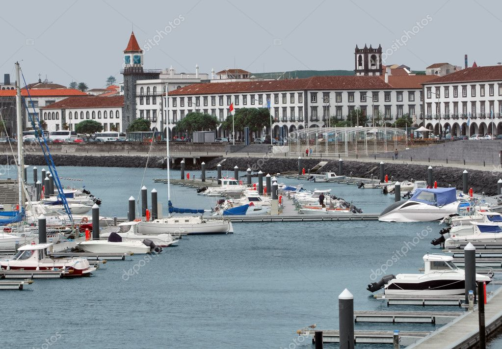 City view with harbor at Ponta Delgada, capital city of the Azores at Sao Miguel Island — Stock Photo #7655717