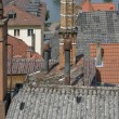 Rsunny illuminated roof scenery in Miltenberg - Stock Photo