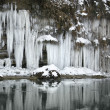 River and lots of icicles — Stock Photo