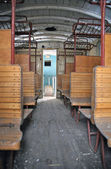 Inside a old historic railway car — Stock Photo