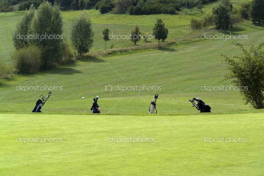 Detail of a golf course with trolleys in Southern Germany — Stock Photo #7702100
