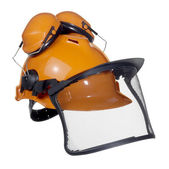 Protective helmet in white back — Stock fotografie