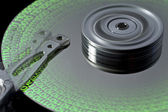 Hard disk and symbolic data — Stock Photo