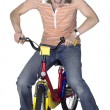 Mad bicycling girl — Stock Photo