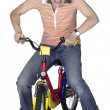 Stock Photo: Mad bicycling girl