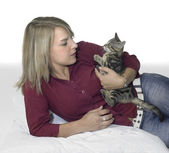 Resting blond girl and cat — Stock Photo