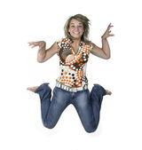 Crazy blond jumping girl — Stock Photo