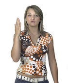 Provocative blond girl showing flat hand — Stock Photo