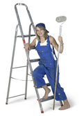 Painting girl lean on a ladder — Stock Photo