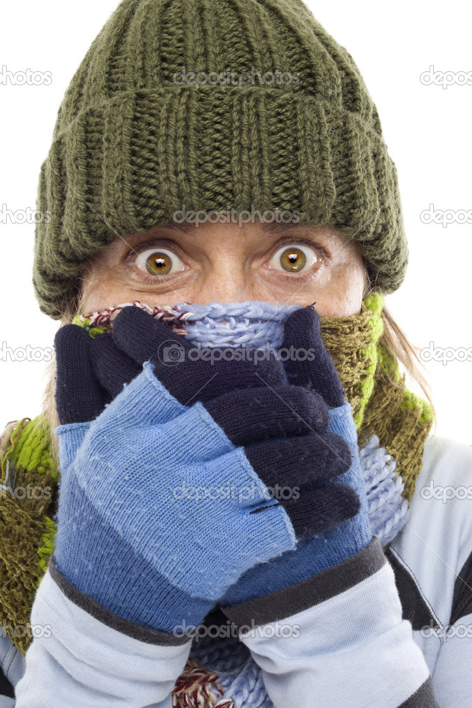 Girl with gloves, hat and scarf by the expression of surprise with beautiful eyes — Stock Photo #7227418