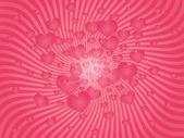 Roze explosie van harten — Stockvector