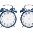 Foto Stock: Set of blue alarm clock