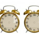 Set of gold alarm clock — Stock Photo