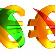 Rising and falling euro — Stockfoto