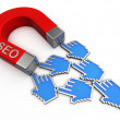 Foto Stock: SEO magnet attracts cursors