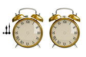 Set of gold alarm clock — Photo