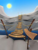 Cartoon rope bridge — 图库照片