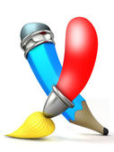 Brush and pencil. Cartoon 3D. — Stockfoto