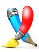 štětec a tužka. kreslený 3d. — Stock fotografie