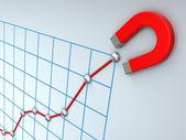 Rostoucí obchodní graf — Stock fotografie