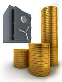 Bank safe and coins — Stock Photo
